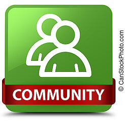 Community (group icon) soft green square button red ribbon in middle