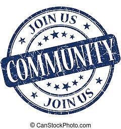 Community grunge blue round stamp