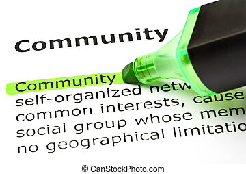 'community', hervorgehoben, in, grün