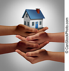 Community housing concept and neighbor support or neighborhood watch symbol as a connected group of diverse hands supporting and holding a family home as a metaphor for friendly residents.