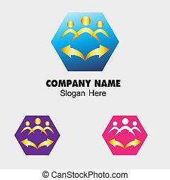 Community icon with hexagon