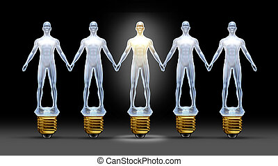 Community ideas with a group of light bulbs shaped as business people holding hands with a leader person illuminated shinning bright as a concept of creative team success through connections and networking.