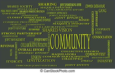 Community industrial business word cloud vector illustration...