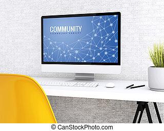 community., komputer, słowo, 3d
