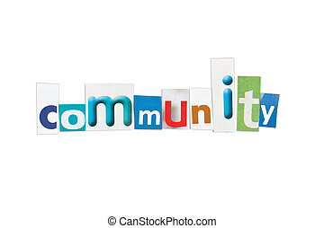 Community, letters sorted on white background