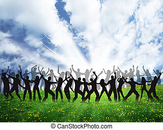 many happy people are dancing on the grass