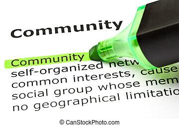 'community', markerad, in, grön