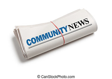 Community News, Newspaper roll with white background