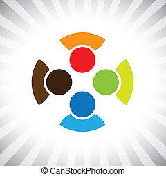 community of buddies, pals & friends get-together- vector graphic. This illustration can also represent children playing,kids having fun,employee meeting,workers unity & diversity, people community