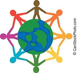 Community People around Globe - Vector Illustration of...