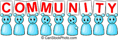 community people - symbolic figures hold up the signs with...