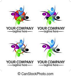 Community People Logo Vector Concept, Icon Set