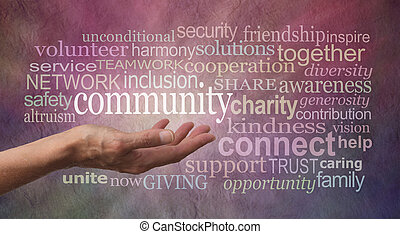 Female open hand against a rustic stone effect pink purple banner background with the word COMMUNITY above surrounded by a word tag cloud