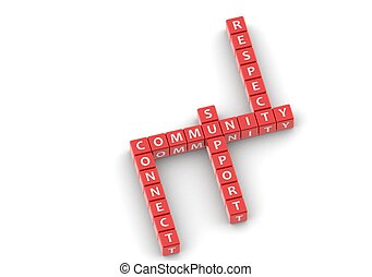 community - Red rendered artwork with white background