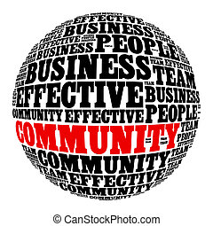 community text collage Composed in the shape of sphere an isolated white background