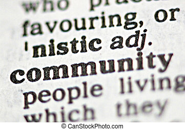 Community - The word volunteer community written in a...
