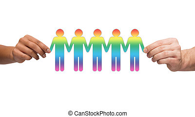 hands holding paper chain gay people