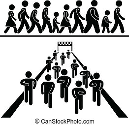 A set of pictograms representing people marching, running, and walking in community event.
