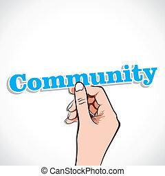 Community word sticker in hand stock vector