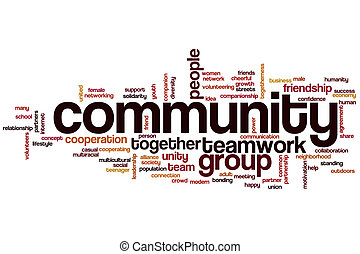 Community concept word cloud background