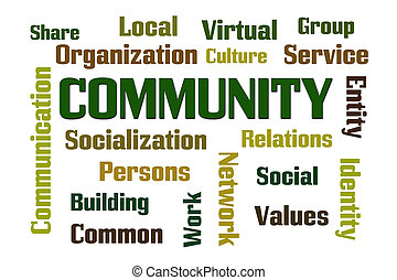 Community word cloud on white background