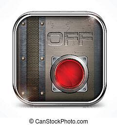 commutateur, fermé, bouton