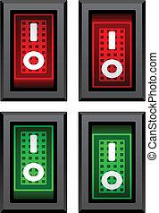 commutateurs, cabillot, vecteur, rectangle, puissance