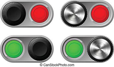commutateurs, lumières, cabillot, rouge vert