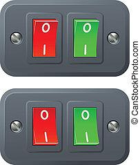 commutateurs, rouge vert