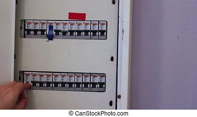 commutation, électrique, case interrupteur