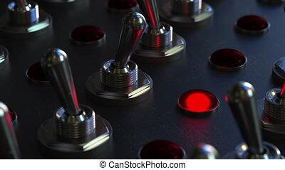 commutazione, tasto bistabile, su, uno, pannello controllo, luce rossa, giri, su