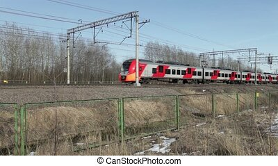 Commuter Electric train countryside - April 18, 2017 St....