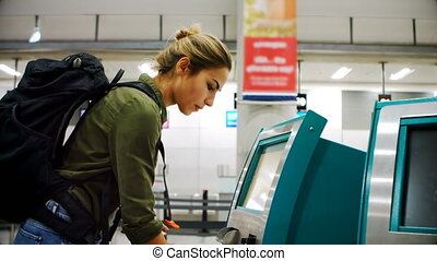 Commuter scanning passport on scanner machine 4k - Beautiful...