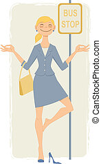 Woman meditates in a yoga pose at the bus stop, vector cartoon