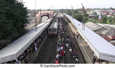 Commuter Train - A commuter train of Jakarta with full...