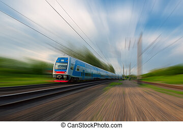 Commuter train - High-speed commuter train with motion blur