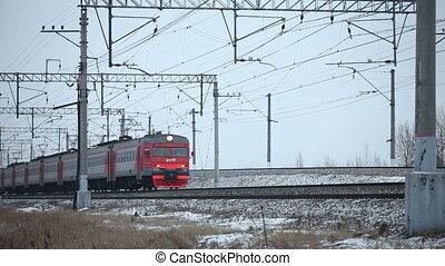 commuter train in motion