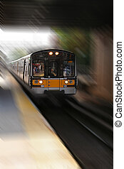 Commuter Train with Blurred Background