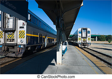 Commuter - Two commuter trains in a station at Sacramento,...