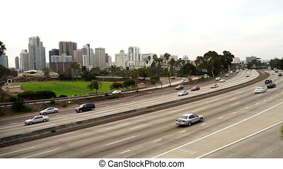 Commuters in Cars Travel Interstate 5 Through San Diego -...