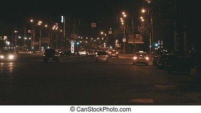commuters., nacht, verkehr autobahn