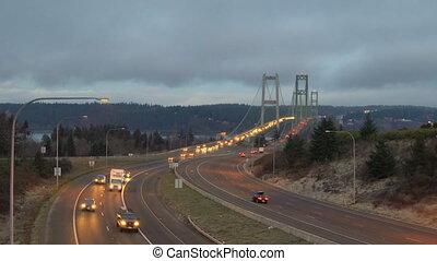 Commuters Tacoma Narrows Bridges Washington Puget Sound -...