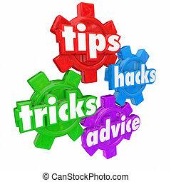 como, ajudas, truques, engrenagens, conselho, assistência, ...
