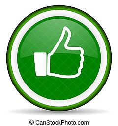 como, arriba, señal, verde, icono, pulgar