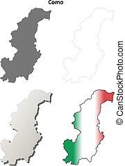 Como blank detailed outline map set - Como province blank...