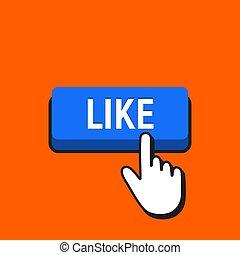 como, button., mano, cursor, ratón hace clic