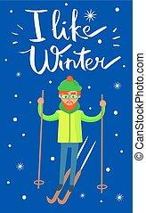 como, cartel, ilustración, invierno, vector, esquiador