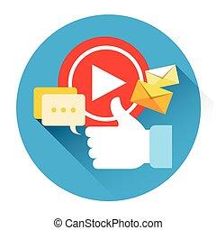 como, comunicación, comments, jugador, vídeo, social, icono...