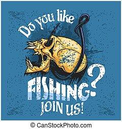 como, cráneo, -, fishing., pescador, hook., usted