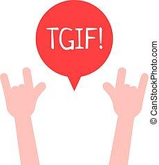 como, dios, tgif, viernes, él, arriba, gracias, manos, ...
